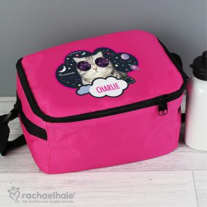 Personalised Rachael Hale Cat Pink Lunch Bag