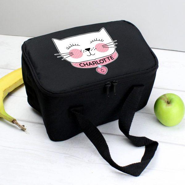 Personalised Cute Cat Black Lunch Bag
