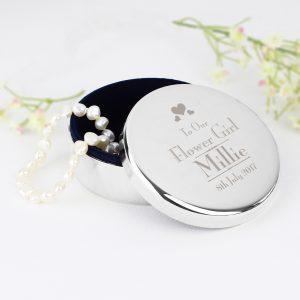 Personalised Flower Girl Round Trinket Box