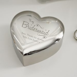 Bridesmaid Swirls & Hearts Trinket Box