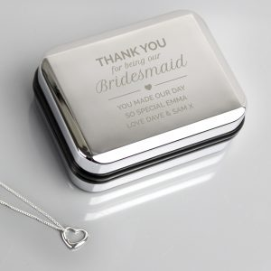 Personalised Bridesmaid Box and Heart Necklace