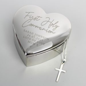 1st Holy Communion Heart Trinket & Cross Set