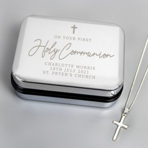 First Holy Communion Box & Cross Necklace Set
