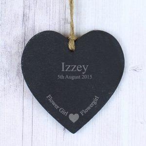 Personalised Flowergirl Slate Heart Decoration