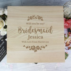 Personalised Bridesmaid Wooden Keepsake Box