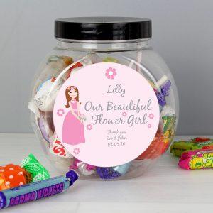 Personalised Fabulous Flowergirl Sweet Jar
