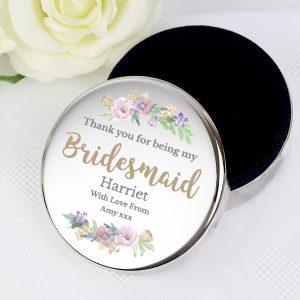 Personalised Bridesmaid Round Trinket Box