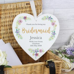 Bridesmaid Large Wooden Heart Decoration