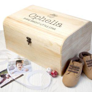 Personalised New Baby Booties Keepsake Chest