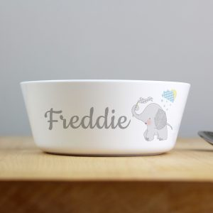 Personalised Hessian Elephant Plastic Bowl