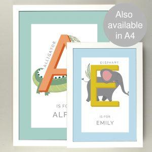 Personalised Animal Alphabet A3 Framed Print