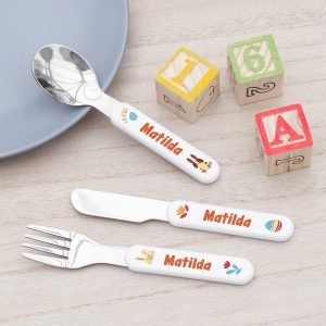 Personalised Spring Bunny Metal Cutlery Set