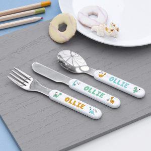 Personalised Cute Dinosaur Metal Cutlery Set