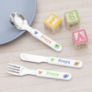Personalised Elephant Metal Cutlery Set