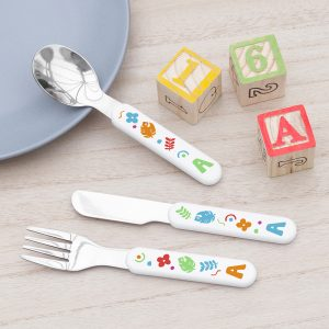 Personalised Colourful Shapes Metal Cutlery Set