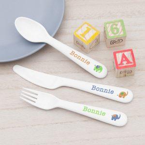 Personalised Elephant Plastic Cutlery Set