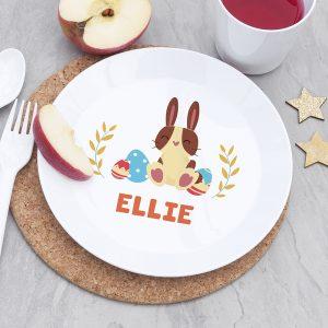 Personalised Kids Spring Bunny Plastic Plate