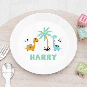 Personalised Kids Cute Dinosaur Plastic Plate
