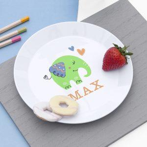 Personalised Kids Elephant Plastic Plate