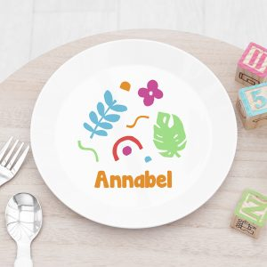 Personalised Kids Colourful Shapes Plastic Plate
