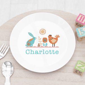 Personalised Kids Scandi Summer Plastic Plate
