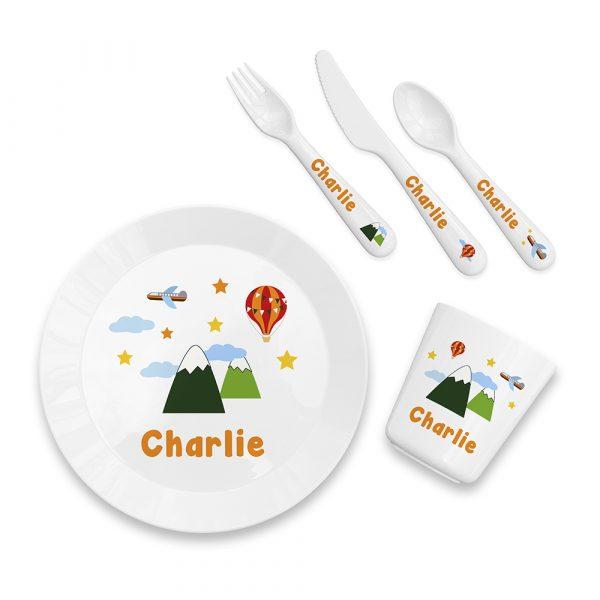 Personalised Kids Adventure Plastic Dining Set