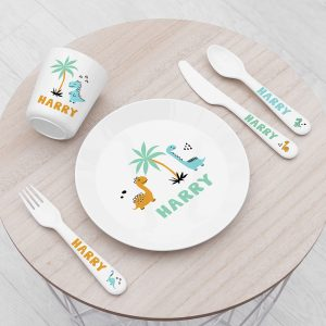 Personalised Cute Dinosaur Plastic Dining Set