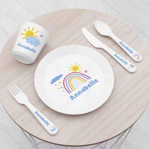 Personalised Kids Pastel Sky Plastic Dining Set