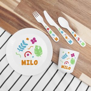 Personalised Kids Colourful Plastic Dining Set