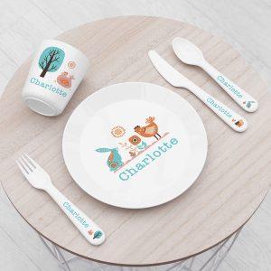 Personalised Kids Scandi Plastic Dining Set