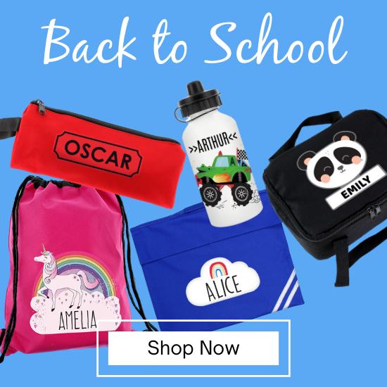 Personalised School Bags, Lunch Bags, Water Bottles