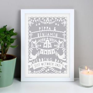Grey Papercut Style A4 White Framed Print