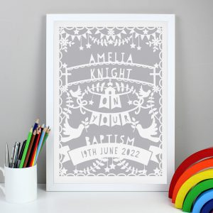 Grey Papercut Style A3 White Framed Print
