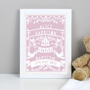 Personalised Pink Papercut Style A4 Framed Print