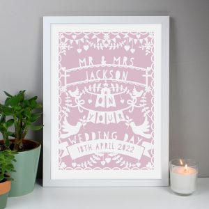 Personalised Pink Papercut Style A3 Framed Print